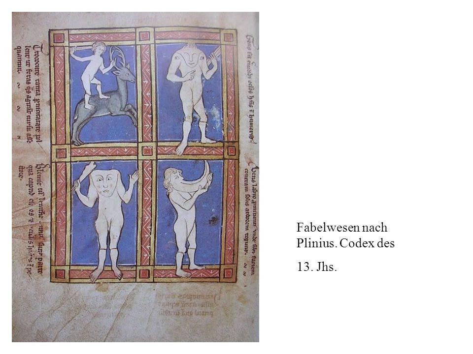 Fabelwesen nach Plinius. Codex des 13. Jhs.