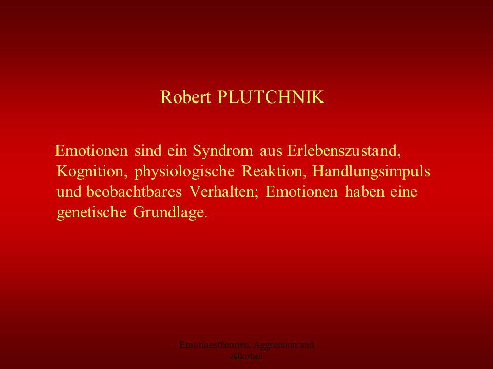 Emotionstheorien: Aggression und Alkohol Robert PLUTCHNIK Emotionen sind ein Syndrom aus Erlebenszustand, Kognition, physiologische Reaktion, Handlung