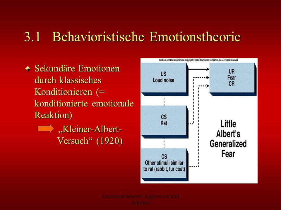 Emotionstheorien: Aggression und Alkohol 3.1 Behavioristische Emotionstheorie Sekundäre Emotionen durch klassisches Konditionieren (= konditionierte e