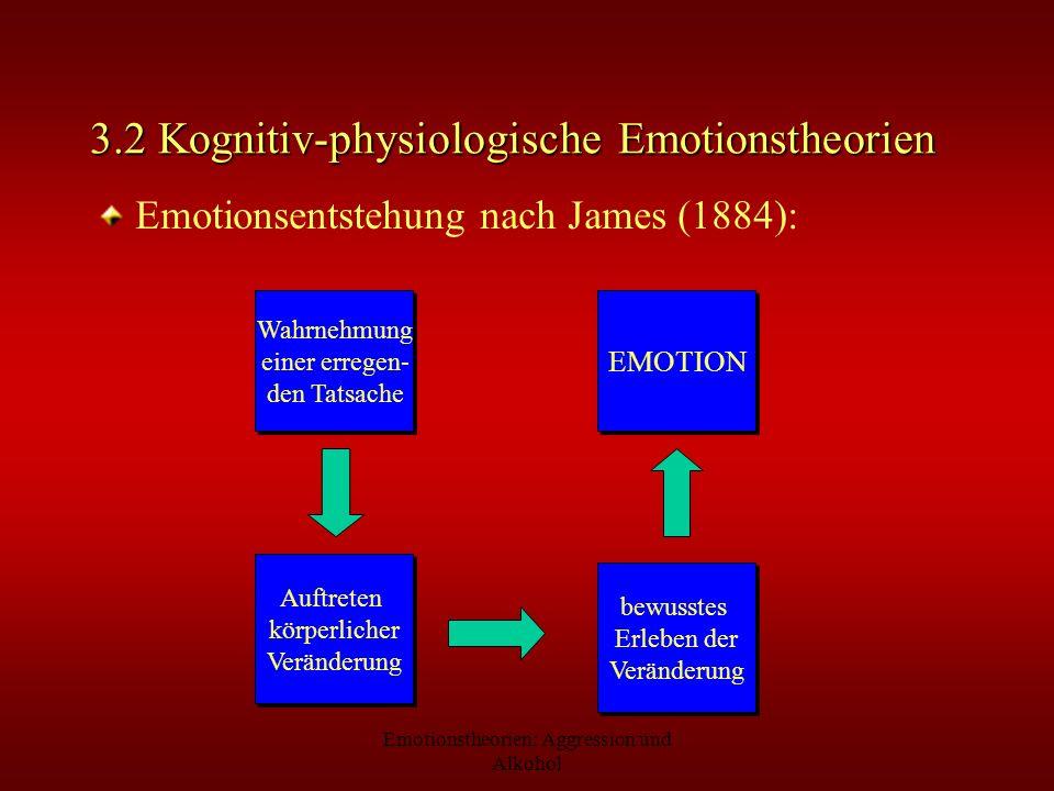 Emotionstheorien: Aggression und Alkohol 3.2 Kognitiv-physiologische Emotionstheorien Emotionsentstehung nach James (1884): Wahrnehmung einer erregen-