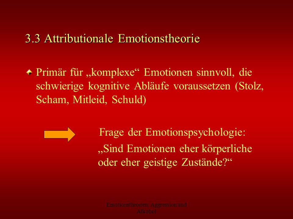 Emotionstheorien: Aggression und Alkohol 3.3 Attributionale Emotionstheorie Primär für komplexe Emotionen sinnvoll, die schwierige kognitive Abläufe v