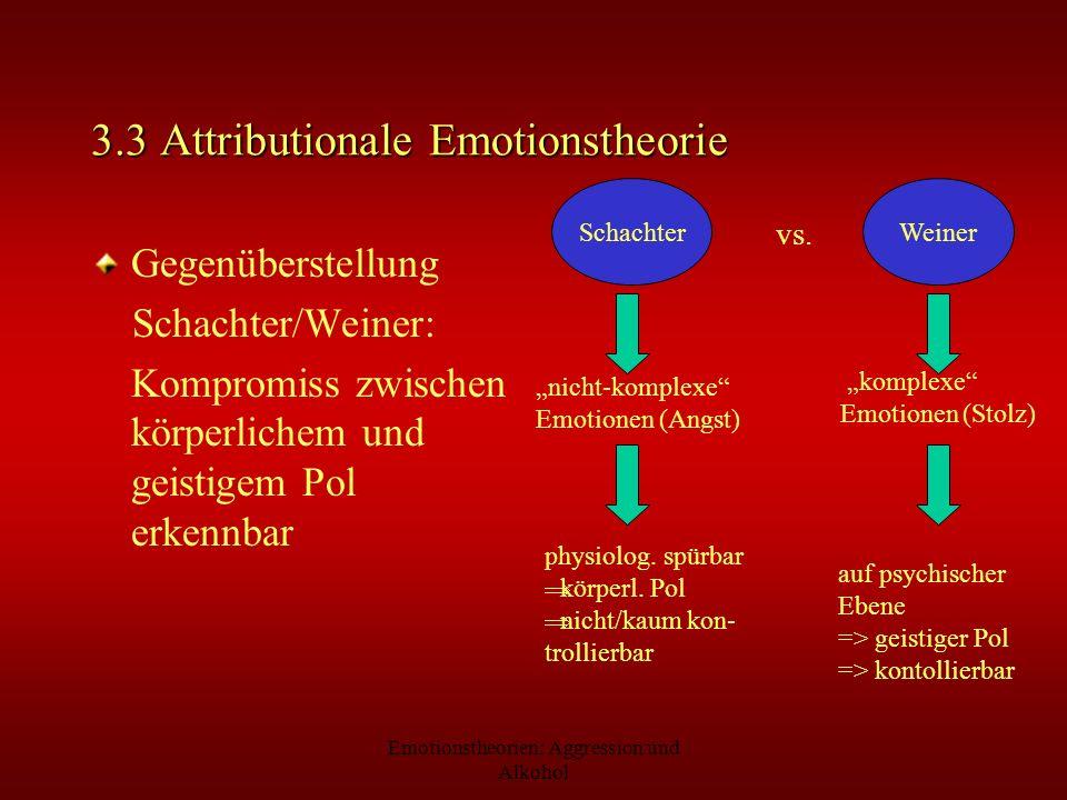 Emotionstheorien: Aggression und Alkohol 3.3 Attributionale Emotionstheorie Gegenüberstellung Schachter/Weiner: Kompromiss zwischen körperlichem und g