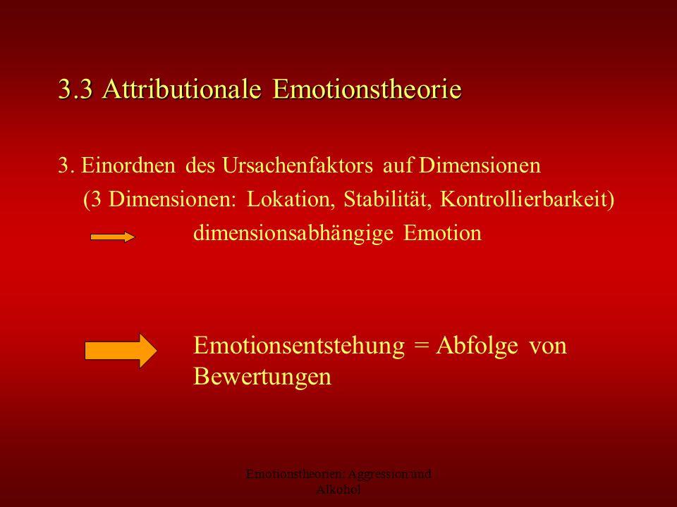 Emotionstheorien: Aggression und Alkohol 3.3 Attributionale Emotionstheorie 3. Einordnen des Ursachenfaktors auf Dimensionen (3 Dimensionen: Lokation,