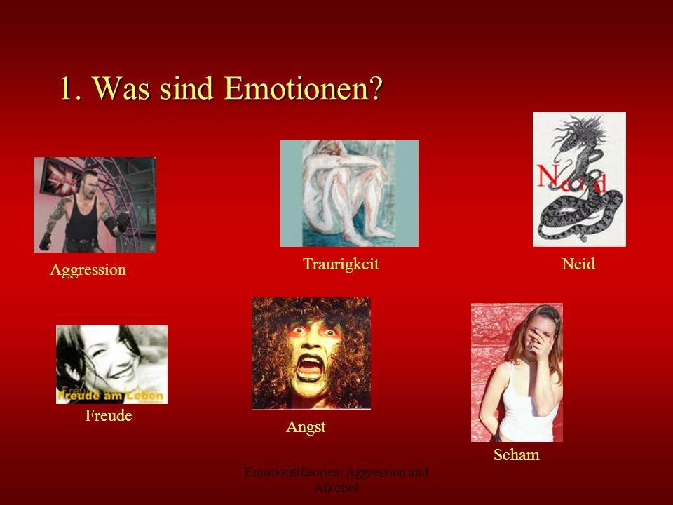 Emotionstheorien: Aggression und Alkohol 3.2 Kognitiv-physiologische Emotionstheorien Maranon (1924): - Injektion von Adrenalin kein Auftreten von Emotionen durch viszerale Veränderung Ein-Komponenten- Theorie James wird durch Zwei- Komponenten-Theorie ersetzt