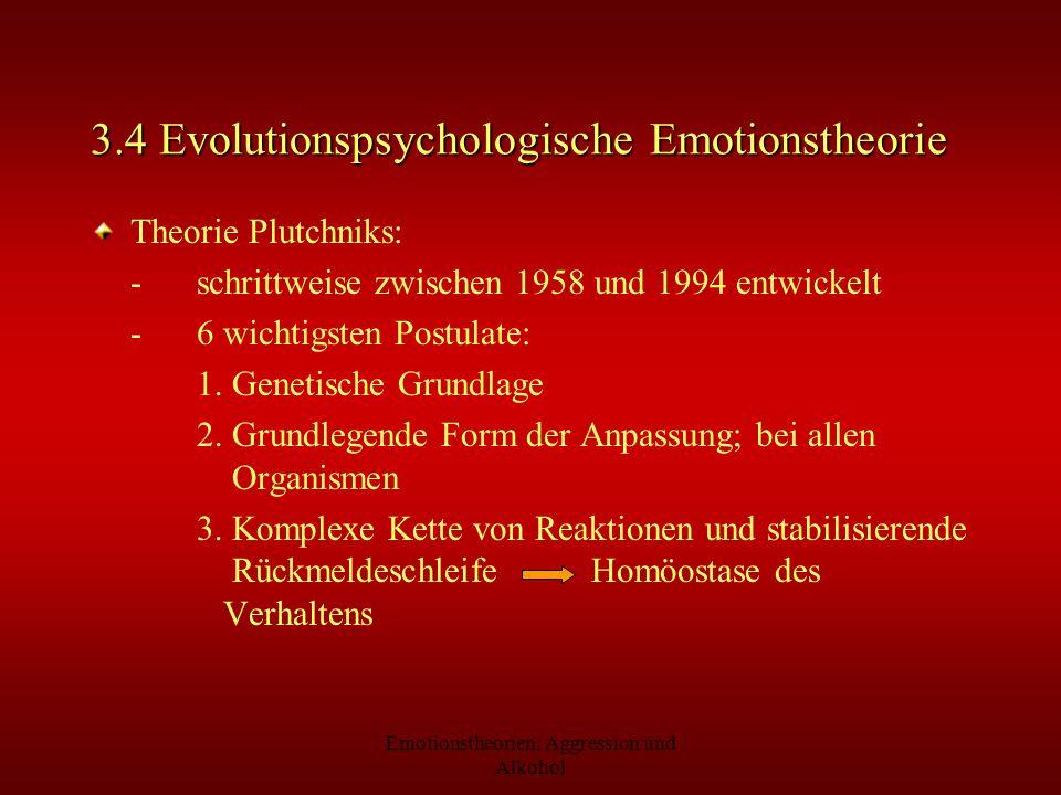 Emotionstheorien: Aggression und Alkohol 3.4 Evolutionspsychologische Emotionstheorie Theorie Plutchniks: -schrittweise zwischen 1958 und 1994 entwick
