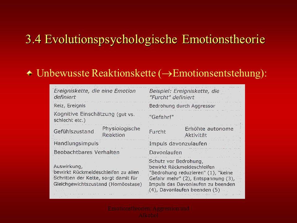 Emotionstheorien: Aggression und Alkohol 3.4 Evolutionspsychologische Emotionstheorie Unbewusste Reaktionskette ( Emotionsentstehung):