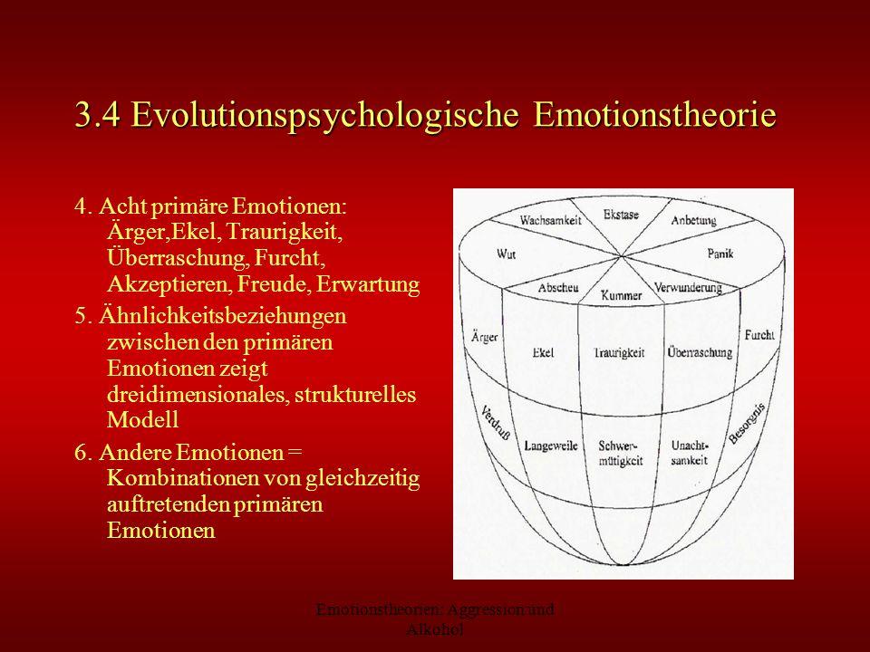 Emotionstheorien: Aggression und Alkohol 3.4 Evolutionspsychologische Emotionstheorie 4. Acht primäre Emotionen: Ärger,Ekel, Traurigkeit, Überraschung