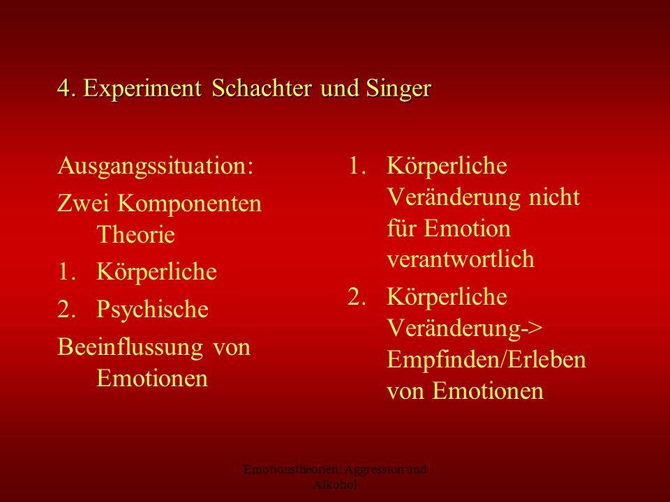 Emotionstheorien: Aggression und Alkohol 4. Experiment Schachter und Singer Ausgangssituation: Zwei Komponenten Theorie 1.Körperliche 2.Psychische Bee