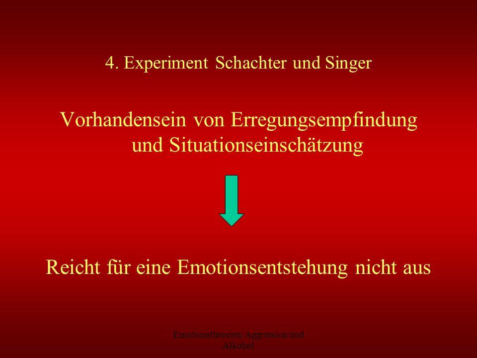 Emotionstheorien: Aggression und Alkohol 4. Experiment Schachter und Singer Vorhandensein von Erregungsempfindung und Situationseinschätzung Reicht fü