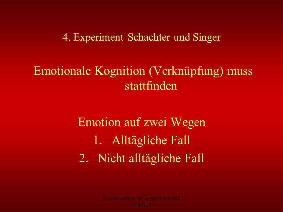 Emotionstheorien: Aggression und Alkohol 4. Experiment Schachter und Singer Emotionale Kognition (Verknüpfung) muss stattfinden Emotion auf zwei Wegen