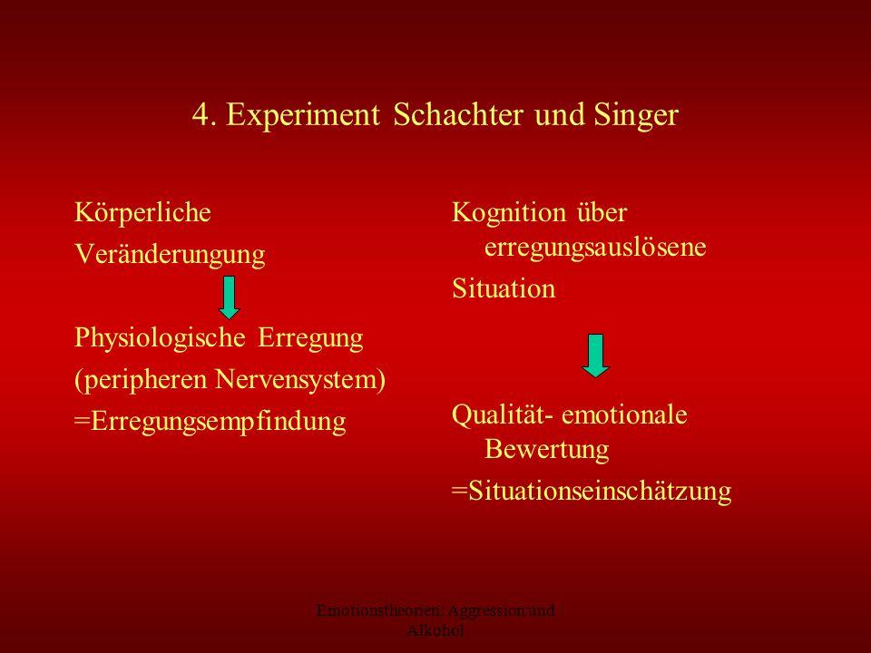 Emotionstheorien: Aggression und Alkohol 4. Experiment Schachter und Singer Körperliche Veränderungung Physiologische Erregung (peripheren Nervensyste