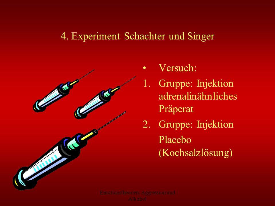 Emotionstheorien: Aggression und Alkohol 4. Experiment Schachter und Singer Versuch: 1.Gruppe: Injektion adrenalinähnliches Präperat 2.Gruppe: Injekti