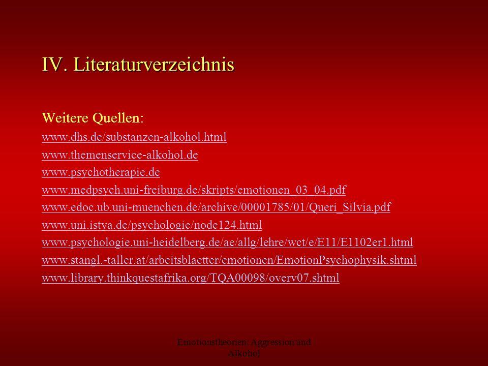 Emotionstheorien: Aggression und Alkohol IV. Literaturverzeichnis Weitere Quellen: www.dhs.de/substanzen-alkohol.html www.themenservice-alkohol.de www