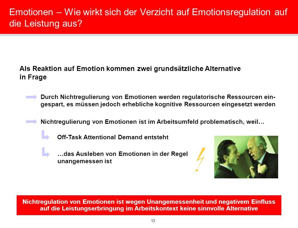 13 Emotionen – Wie wirkt sich der Verzicht auf Emotionsregulation auf die Leistung aus? Als Reaktion auf Emotion kommen zwei grundsätzliche Alternativ