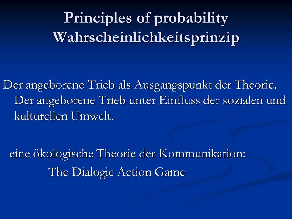 Principles of probability Wahrscheinlichkeitsprinzip Der angeborene Trieb als Ausgangspunkt der Theorie. Der angeborene Trieb unter Einfluss der sozia