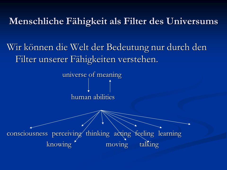Menschliche Fähigkeit als Filter des Universums Wir können die Welt der Bedeutung nur durch den Filter unserer Fähigkeiten verstehen. universe of mean