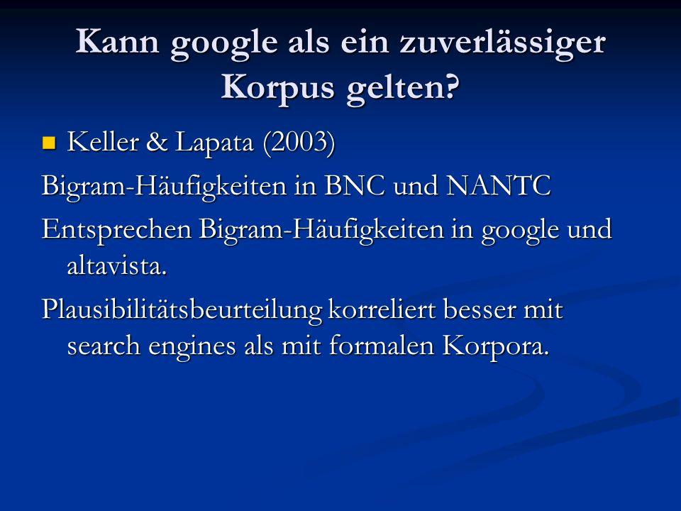 Kann google als ein zuverlässiger Korpus gelten? Keller & Lapata (2003) Keller & Lapata (2003) Bigram-Häufigkeiten in BNC und NANTC Entsprechen Bigram