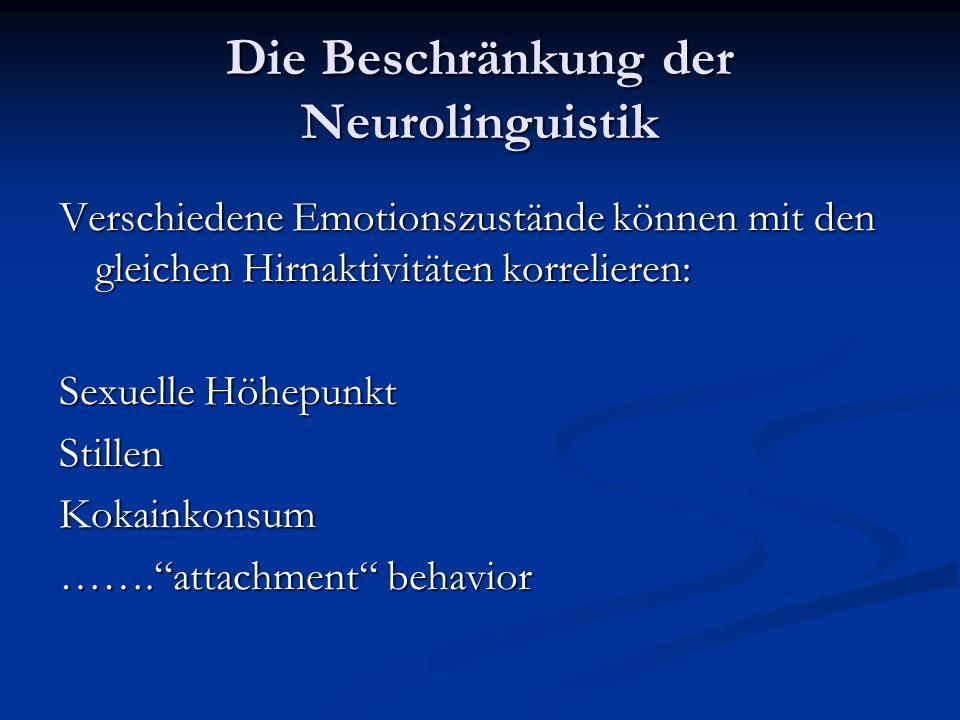 Die Beschränkung der Neurolinguistik Verschiedene Emotionszustände können mit den gleichen Hirnaktivitäten korrelieren: Sexuelle Höhepunkt StillenKoka