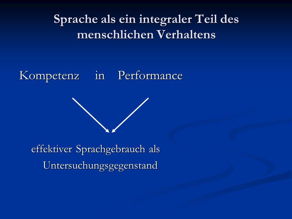 Sprache als ein integraler Teil des menschlichen Verhaltens Kompetenz in Performance Kompetenz in Performance effektiver Sprachgebrauch als effektiver