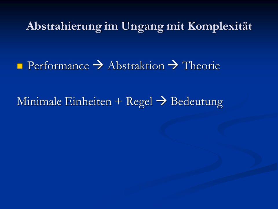 Abstrahierung im Ungang mit Komplexität Performance Abstraktion Theorie Performance Abstraktion Theorie Minimale Einheiten + Regel Bedeutung