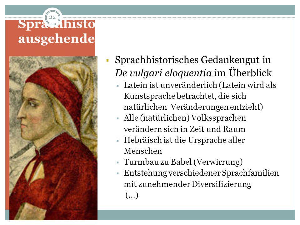 Sprachhistorisches Denken im ausgehenden Mittelalter: Dante Sprachhistorisches Gedankengut in De vulgari eloquentia im Überblick Latein ist unveränder