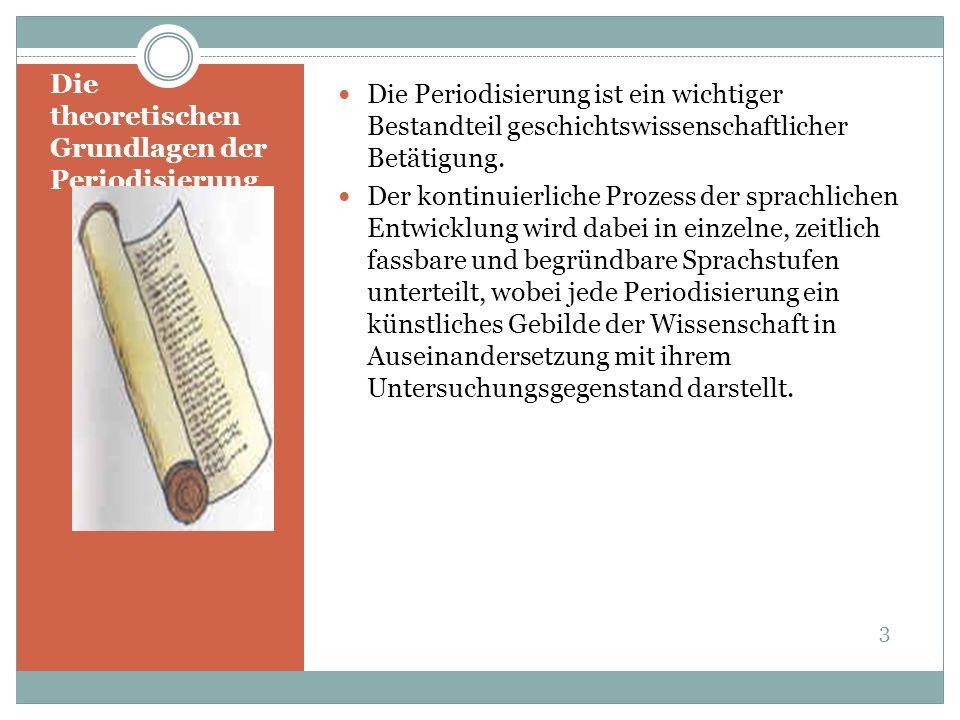 Periodisierung smodelle Sprach-geschichte auf literatur- wissen-schaftlicher Basis (1) Die erste Epoche reicht von 1180 bis 1230.