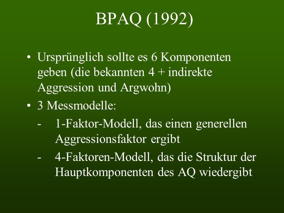 BPAQ (1992) Ursprünglich sollte es 6 Komponenten geben (die bekannten 4 + indirekte Aggression und Argwohn) 3 Messmodelle: -1-Faktor-Modell, das einen generellen Aggressionsfaktor ergibt - 4-Faktoren-Modell, das die Struktur der Hauptkomponenten des AQ wiedergibt