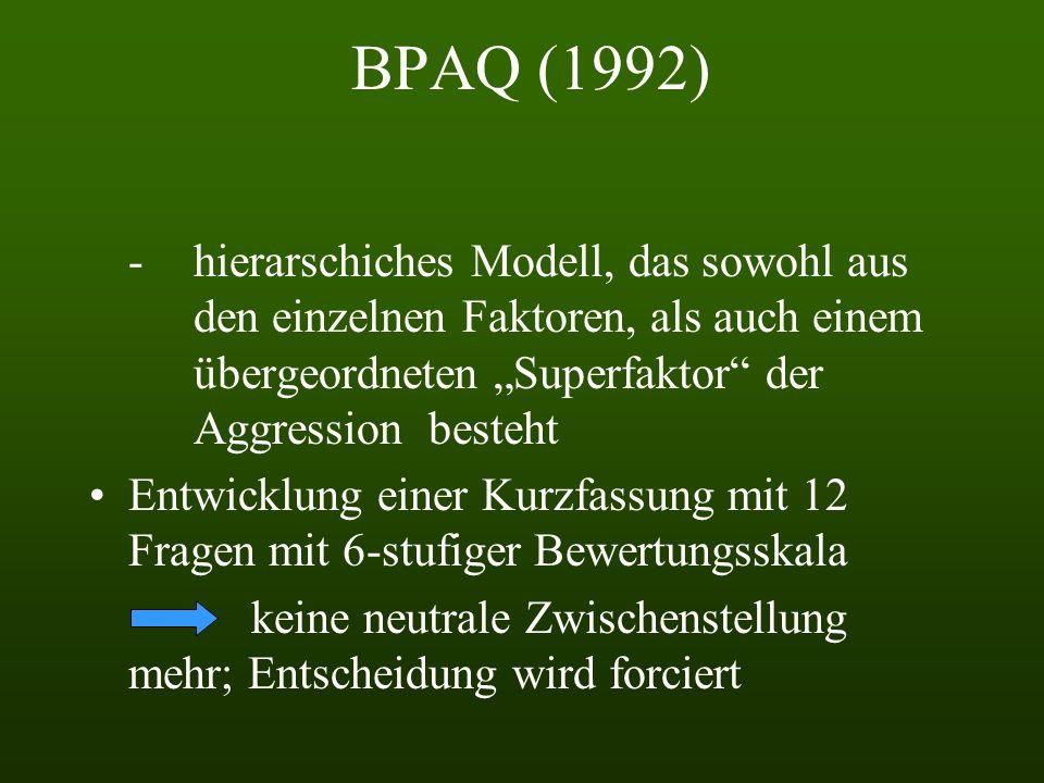 BPAQ (1992) Ursprünglich sollte es 6 Komponenten geben (die bekannten 4 + indirekte Aggression und Argwohn) 3 Messmodelle: -1-Faktor-Modell, das einen