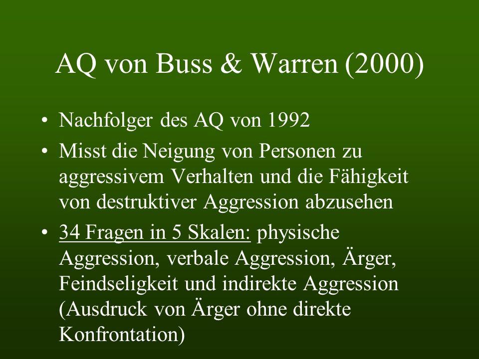 AQ von Buss & Warren (2000) Nachfolger des AQ von 1992 Misst die Neigung von Personen zu aggressivem Verhalten und die Fähigkeit von destruktiver Aggression abzusehen 34 Fragen in 5 Skalen: physische Aggression, verbale Aggression, Ärger, Feindseligkeit und indirekte Aggression (Ausdruck von Ärger ohne direkte Konfrontation)