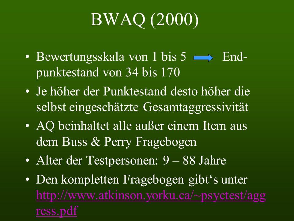BWAQ (2000) Bewertungsskala von 1 bis 5 End- punktestand von 34 bis 170 Je höher der Punktestand desto höher die selbst eingeschätzte Gesamtaggressivität AQ beinhaltet alle außer einem Item aus dem Buss & Perry Fragebogen Alter der Testpersonen: 9 – 88 Jahre Den kompletten Fragebogen gibts unter http://www.atkinson.yorku.ca/~psyctest/agg ress.pdf http://www.atkinson.yorku.ca/~psyctest/agg ress.pdf