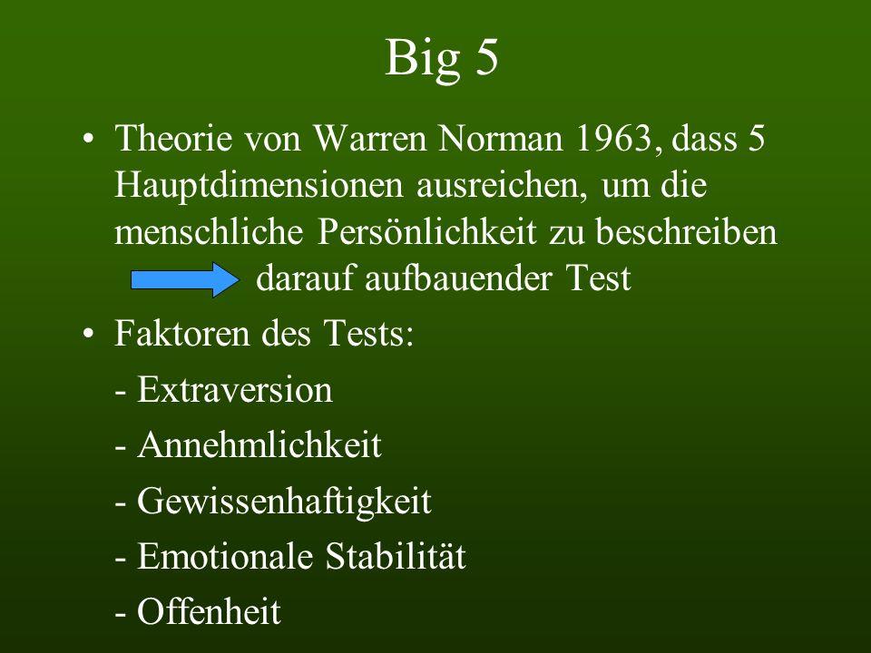 Big 5 Theorie von Warren Norman 1963, dass 5 Hauptdimensionen ausreichen, um die menschliche Persönlichkeit zu beschreiben darauf aufbauender Test Faktoren des Tests: - Extraversion - Annehmlichkeit - Gewissenhaftigkeit - Emotionale Stabilität - Offenheit