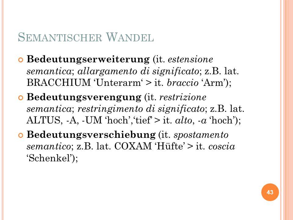 S EMANTISCHER W ANDEL Bedeutungserweiterung (it. estensione semantica ; allargamento di significato ; z.B. lat. BRACCHIUM Unterarm > it. braccio Arm);
