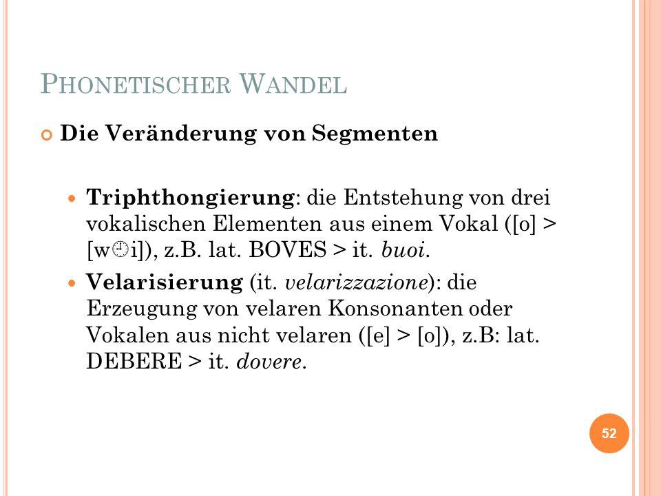 P HONETISCHER W ANDEL Die Veränderung von Segmenten Triphthongierung : die Entstehung von drei vokalischen Elementen aus einem Vokal ([o] > [w i]), z.