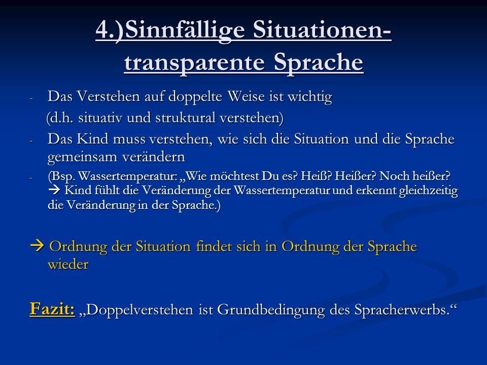 4.)Sinnfällige Situationen- transparente Sprache - Das Verstehen auf doppelte Weise ist wichtig (d.h. situativ und struktural verstehen) (d.h. situati