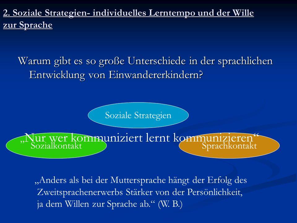 2. Soziale Strategien- individuelles Lerntempo und der Wille zur Sprache Warum gibt es so große Unterschiede in der sprachlichen Entwicklung von Einwa