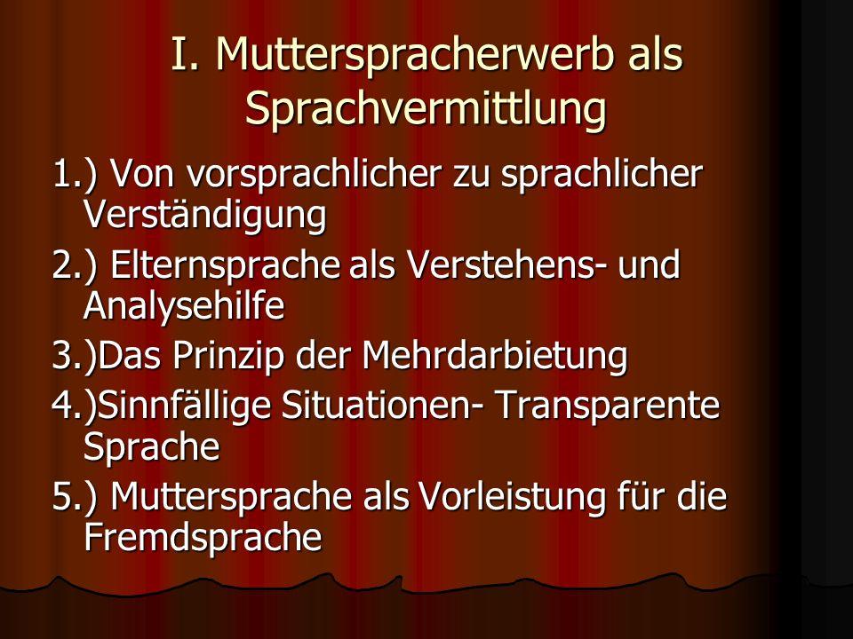 I. Mutterspracherwerb als Sprachvermittlung 1.) Von vorsprachlicher zu sprachlicher Verständigung 2.) Elternsprache als Verstehens- und Analysehilfe 3