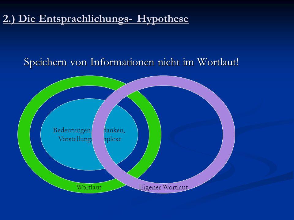 2.) Die Entsprachlichungs- Hypothese Speichern von Informationen nicht im Wortlaut! Speichern von Informationen nicht im Wortlaut! Bedeutungen, Gedank