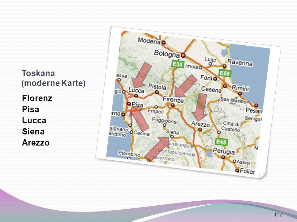 Toskana (moderne Karte) Florenz Pisa Lucca Siena Arezzo 112