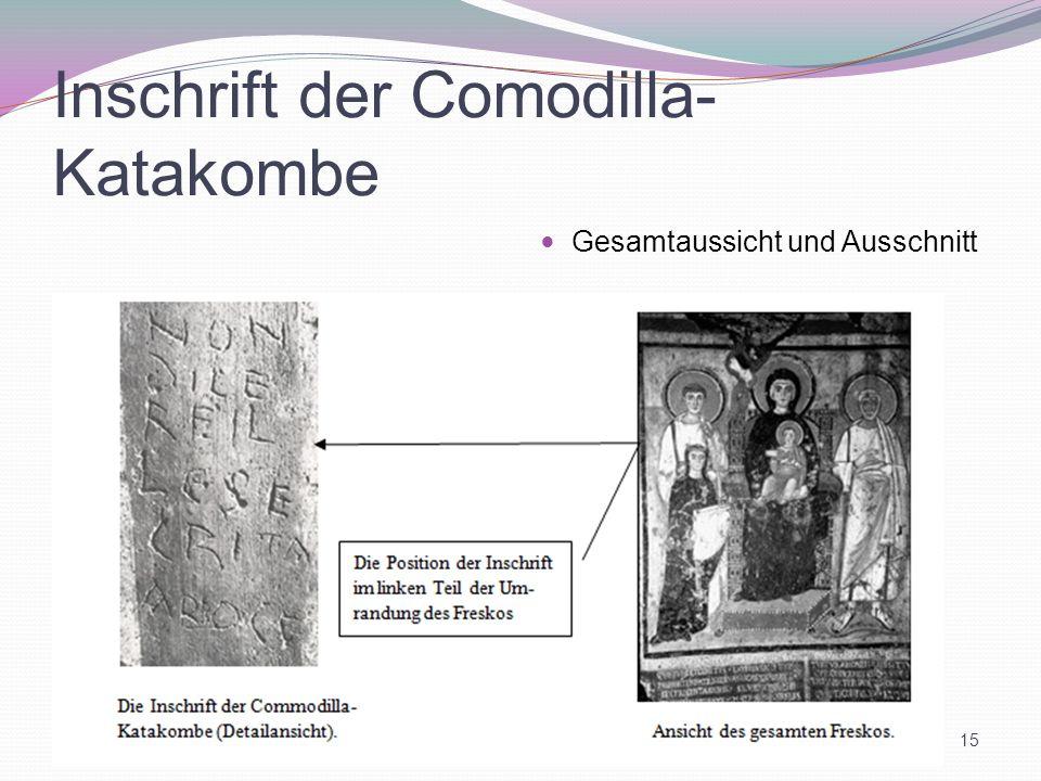Inschrift der Comodilla- Katakombe Gesamtaussicht und Ausschnitt 15