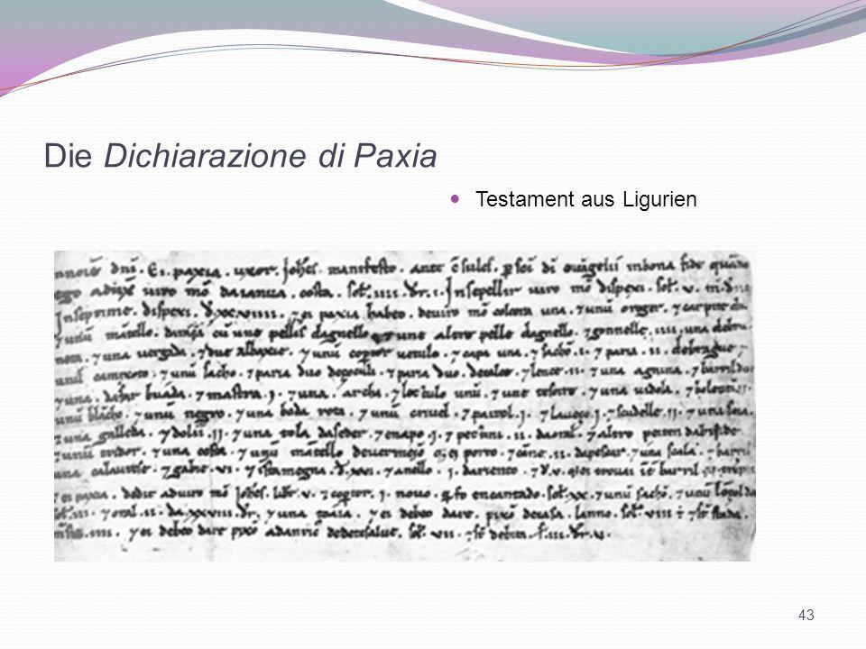 Die Dichiarazione di Paxia Testament aus Ligurien 43