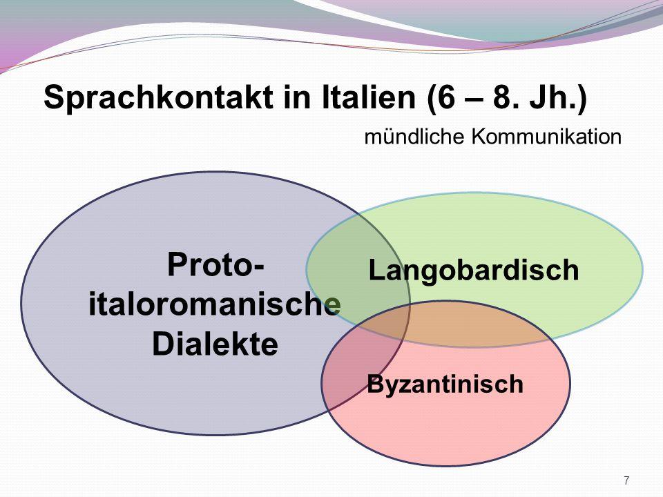 Proto- italoromanische Dialekte Langobardisch Sprachkontakt in Italien (6 – 8. Jh.) mündliche Kommunikation Byzantinisch 7