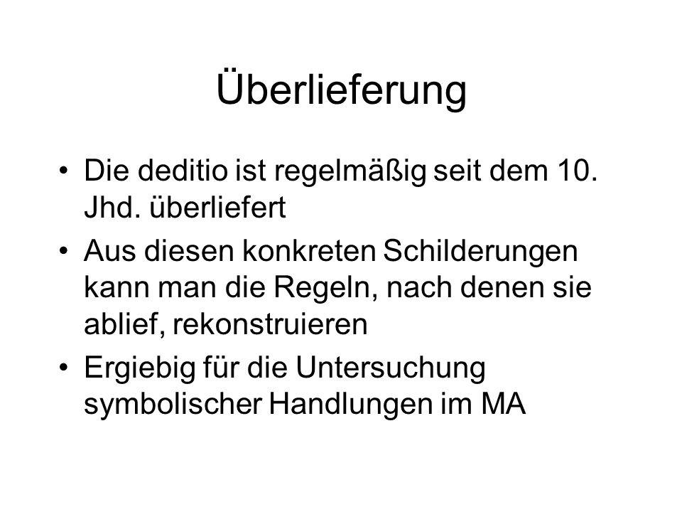 Inszenierung zur Repräsentation von Herrschaft im MA am Beispiel der deditio Literatur: Gerd Althoff: Spielregeln der Politik im Mittelalter. Kommunik