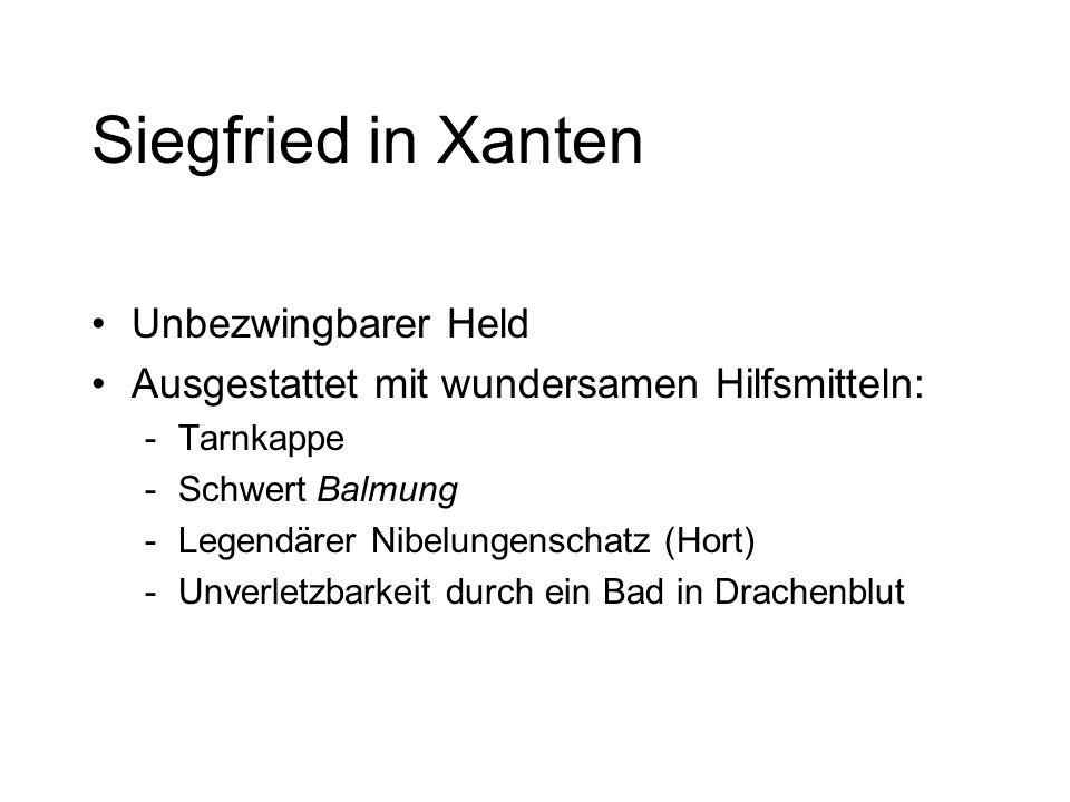 1. Teil Königshof WORMS: Kriemhild und 3 Brüder: Gunther, Gernot, Giselher Siegfried (Königssohn aus Xanten) erscheint bei Hof und fordert Gunther her