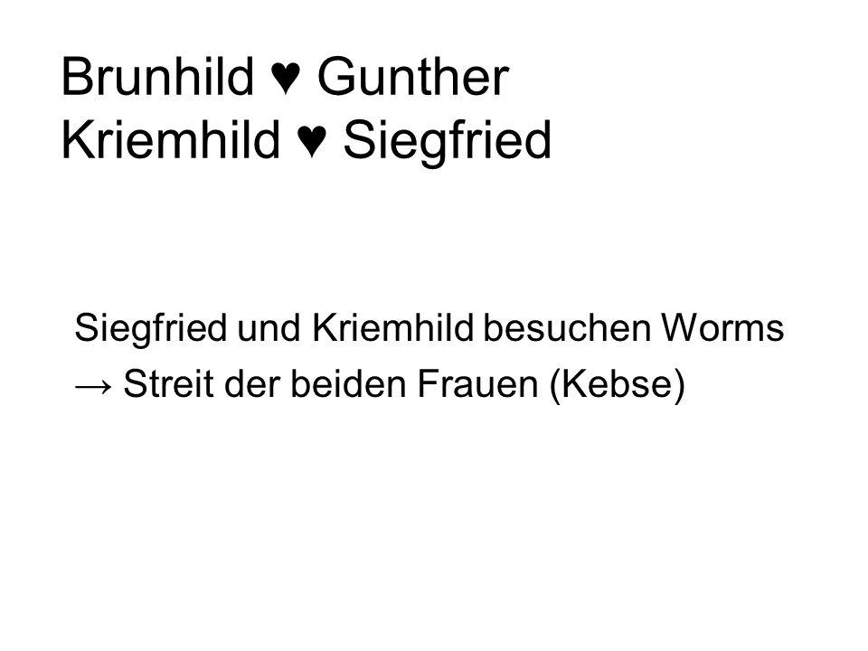 Brunhild Übermäßig starke Frau Verlangt von den Werber, sie im Kampf zu besiegen Gunther braucht Siegfrieds Hilfe bei der Werbung –Vasallendienst –Täu