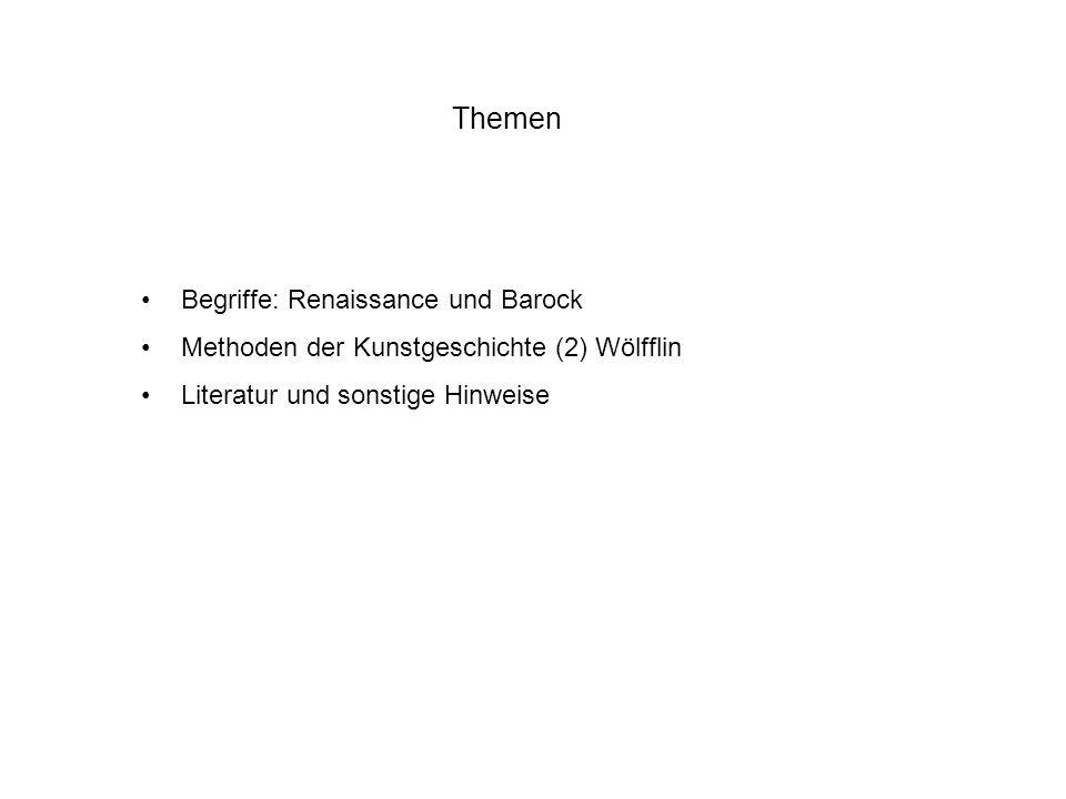 Zu den fünf Begriffspaaren Renaissance / Barock Linear: Begrenzung der Gegenstände Fläche: Bildräume werden bildflächenparallel (wenn auch gestaffelt) organisiert Geschlossene Form: bspw.