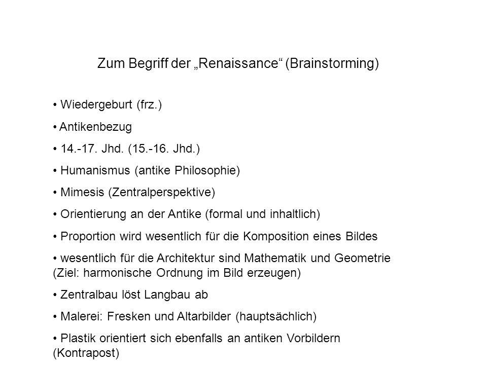 Zum Begriff der Renaissance (Brainstorming) Wiedergeburt (frz.) Antikenbezug 14.-17. Jhd. (15.-16. Jhd.) Humanismus (antike Philosophie) Mimesis (Zent