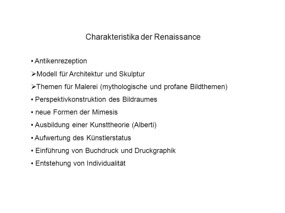 Charakteristika der Renaissance Antikenrezeption Modell für Architektur und Skulptur Themen für Malerei (mythologische und profane Bildthemen) Perspek