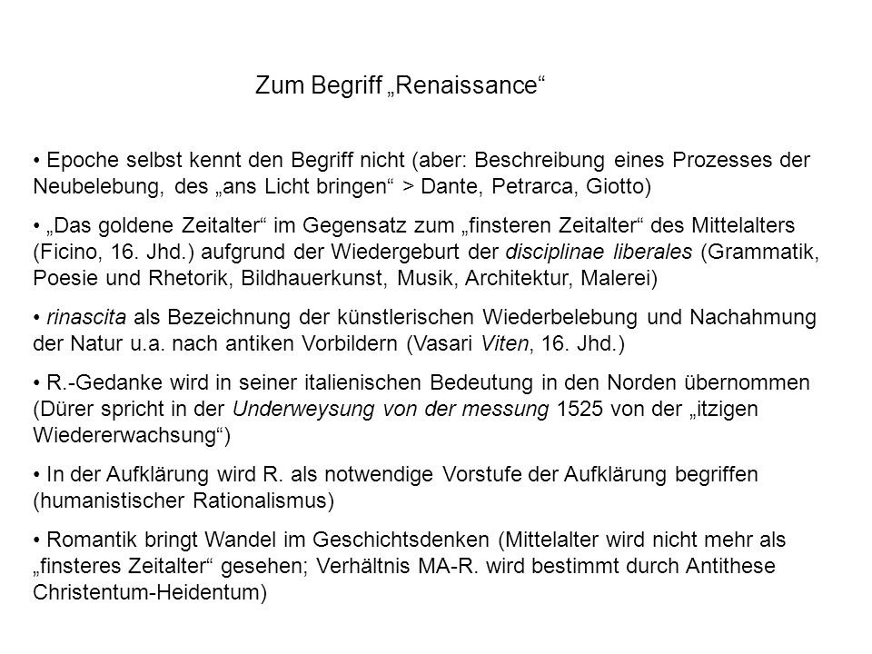 Zum Begriff Renaissance 19./20.