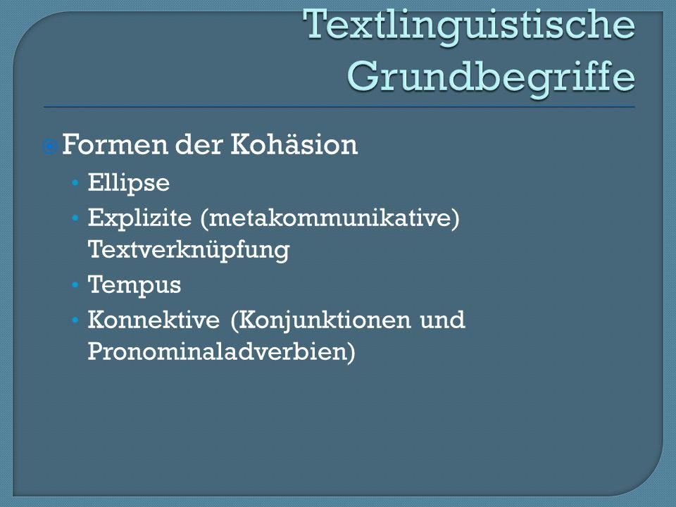 Formen der Kohäsion Ellipse Explizite (metakommunikative) Textverknüpfung Tempus Konnektive (Konjunktionen und Pronominaladverbien)