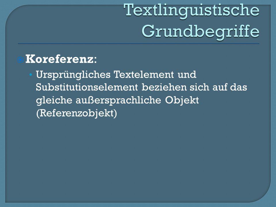 Koreferenz: Ursprüngliches Textelement und Substitutionselement beziehen sich auf das gleiche außersprachliche Objekt (Referenzobjekt)